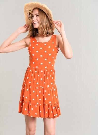 Agenda Sırt Detaylı Puantiyeli Elbise Oranj